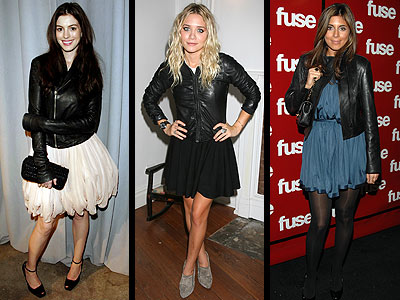 LEATHER JACKETS OVER DRESSES