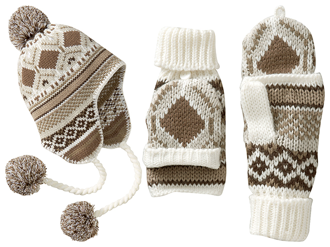 OLD NAVY FAIR ISLE HATS AND MITTENS