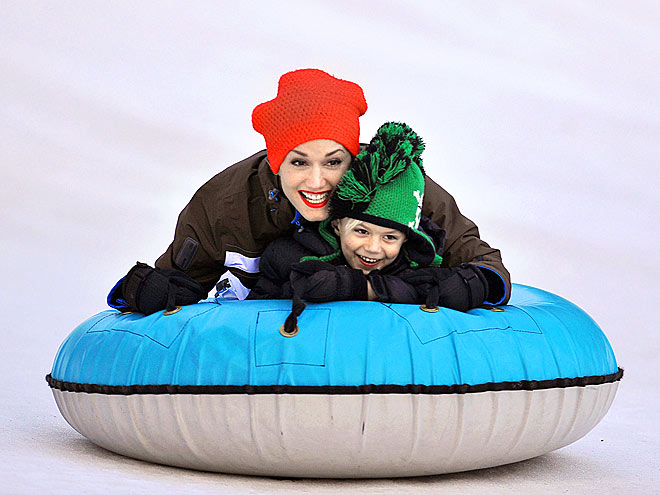 GWEN SLEDS WITH HER KIDS!