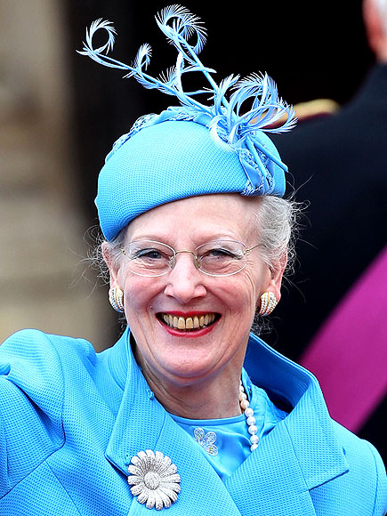 Queen Margrethe II of Denmark waves as she arrives to attend the Royal Wedding of Prince William to Catherine Middleton at Westminster Abbey on April 29, 2011 in London, England.