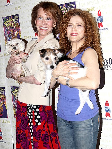 NEW YORK, NY - JULY 09: Mary Tyler Moore and Bernadette Peters attend the 13th Annual Broadway Barks! at Shubert Alley on July 9, 2011 in New York City.
