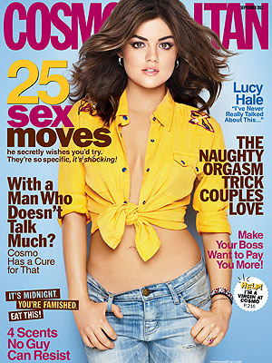 Lucy Hale poses on the cover of the September issue of Cosmopolitan