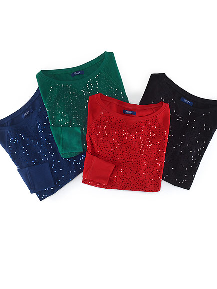 CHAPS SEQUINED HENLEY