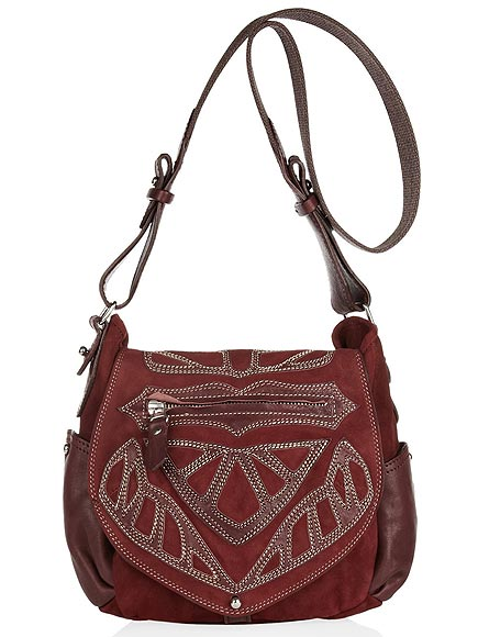 ISABEL MARANT BALLWIN-EMBROIDERED LEATHER & SUEDE BAG