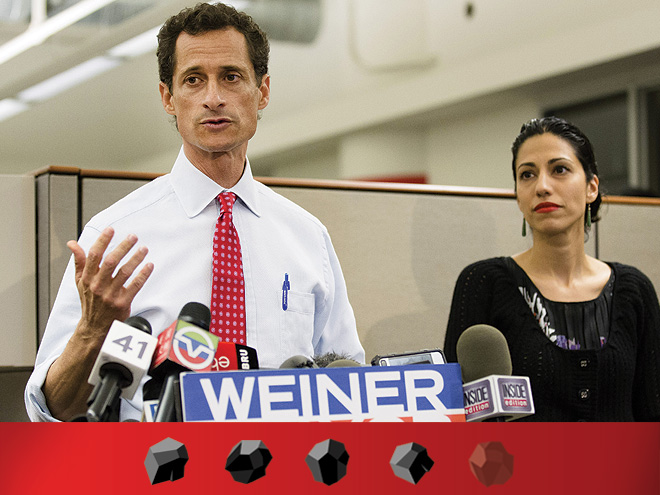 New York mayoral candidate Anthony Weiner speaks during a news conference alongside his wife Huma Abedin at the Gay Men's Health Crisis headquarters, Tuesday, July 23, 2013, in New York.