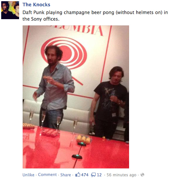 Daft Punk, without helmets, playing beer pong