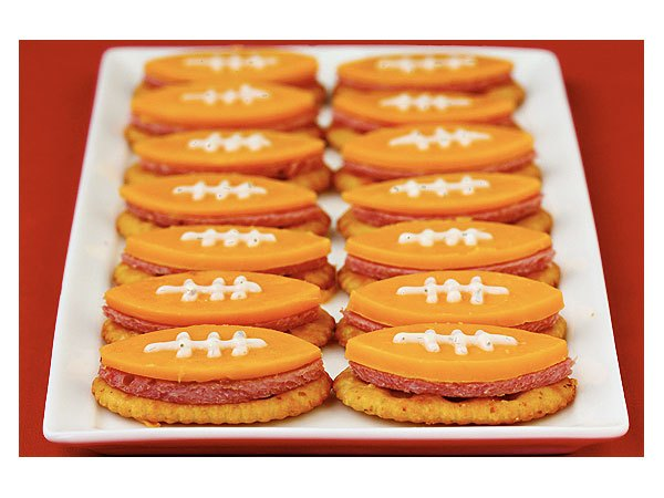 Super Bowl Football Themed Food Appetizer Cheese and Crackers