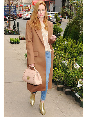 Kate Bosworth gold booties and jeans