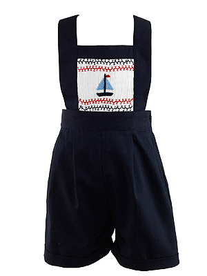 Rachely Riley Sailboat Smocked Dungarees Navy