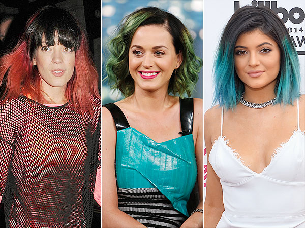 Lily Allen red hair, Katy Perry green hair, Kylie Jenner blue hair