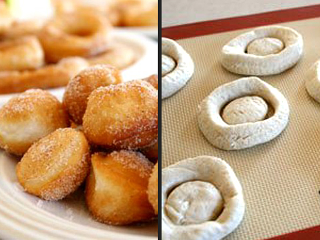 MAKE DOUGHNUTS WITH BISCUIT DOUGH