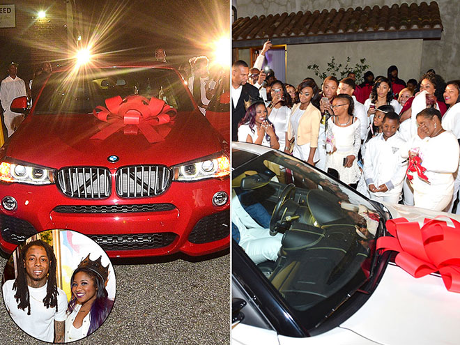Lil Wayne's Ferrari GTO and BMW for his daughter's Sweet 16
