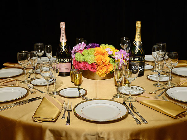 Detail view of the tables at the 72nd Golden Globe