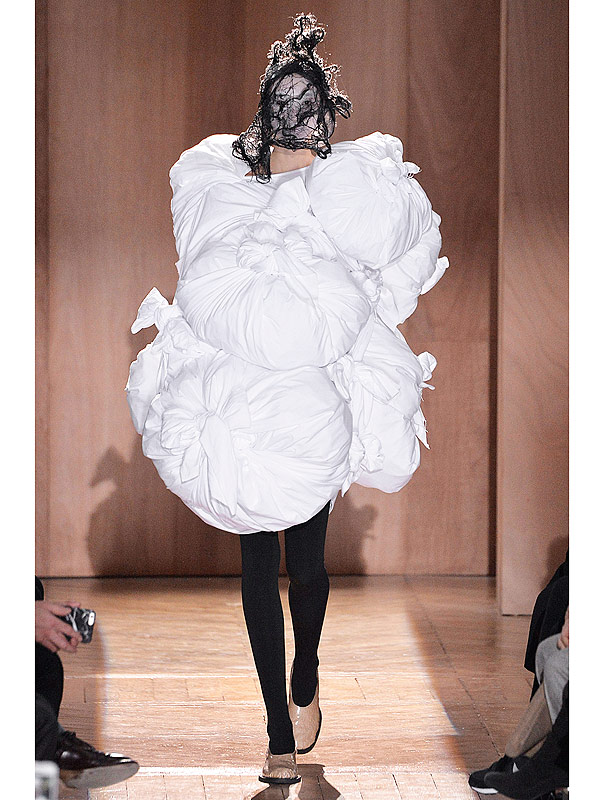 Model on the Comme des garcons runway