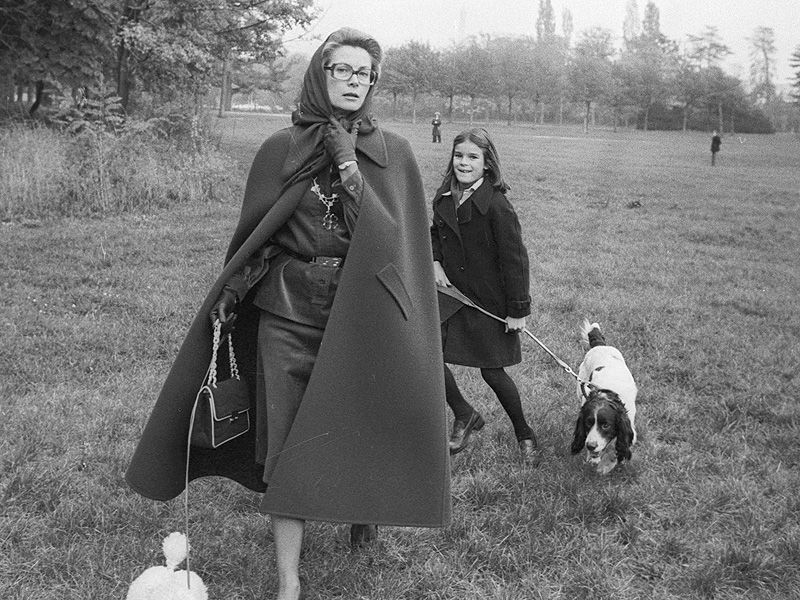 Princess Grace of Monaco in the Bois de Boulogne walks the dogs with her daughter Princess Stephanie after school. 1975. (Photo by Images)