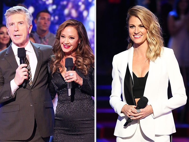From left: Tom Bergeron, Leah Remini and Aaron Andrews on Dancing with the Stars
