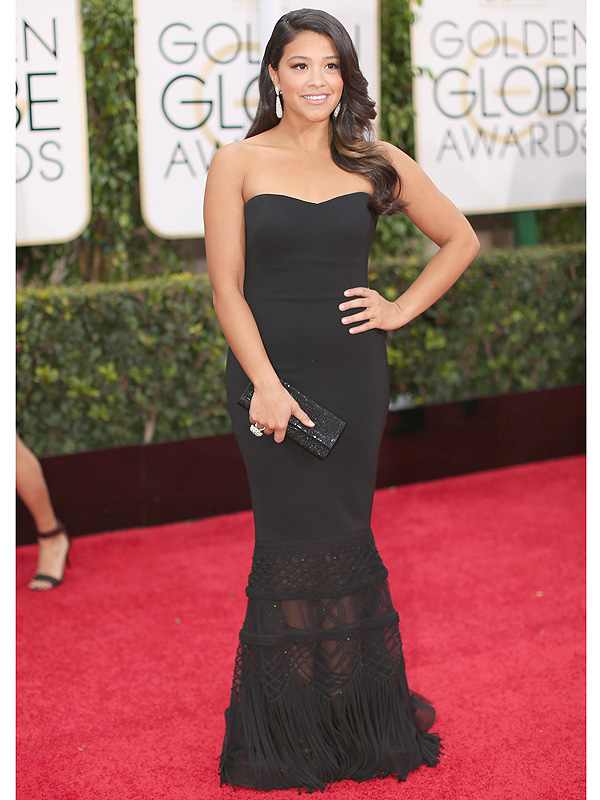 Gina Rodriguez Golden Globes 2016 Badgley Mishka dress