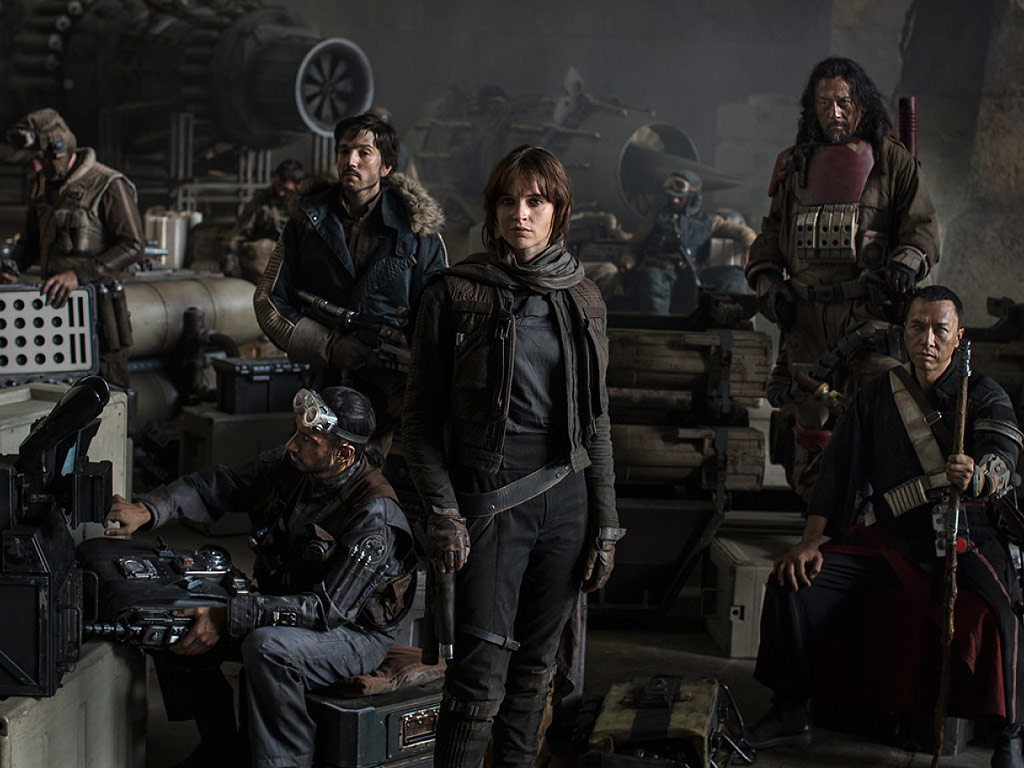 Wen Jiang, Felicity Jones, Diego Luna, Donnie Yen and Riz Ahmed in Rogue One: A Star Wars Story (2016)