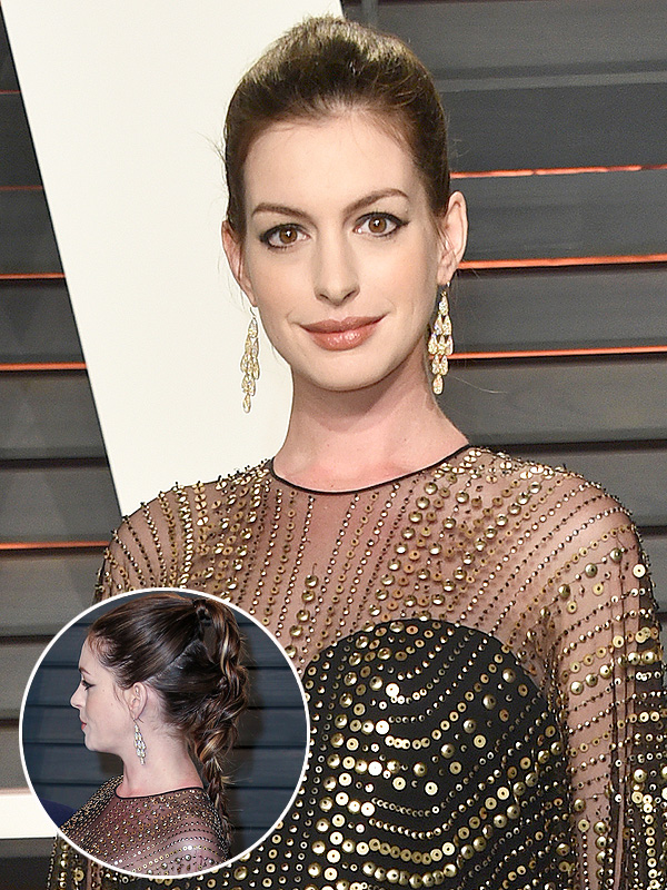 Anne Hathaway Oscars afterparty hair look
