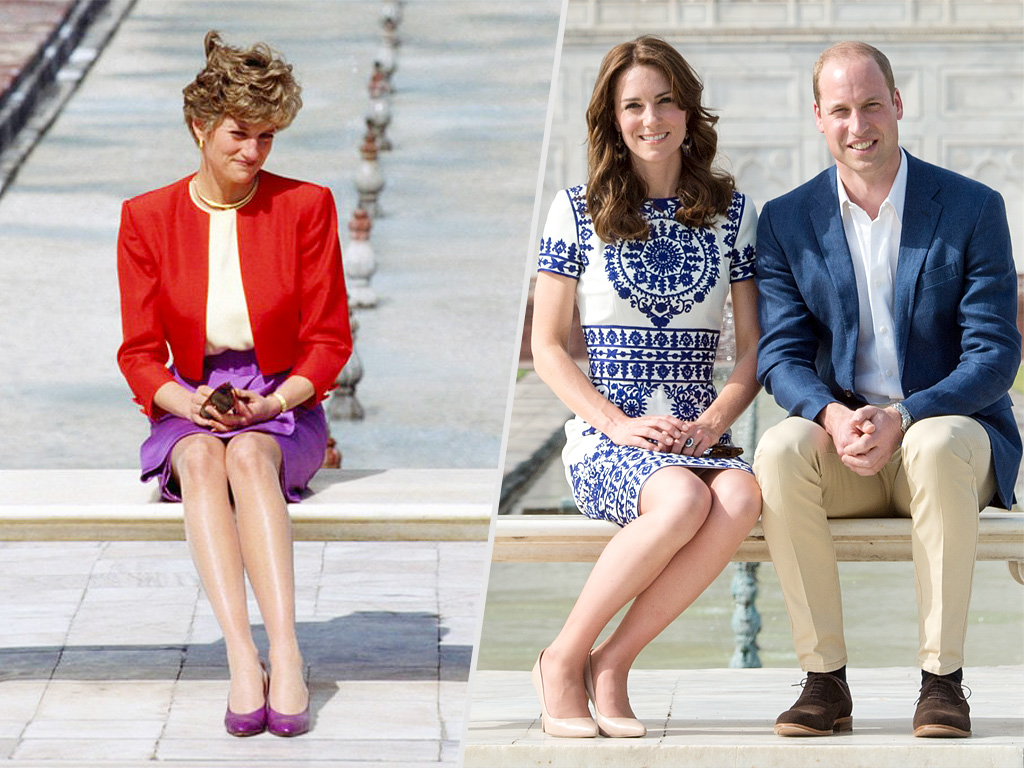 Diana Princess of Wales sits in front of the Taj Mahal during a visit to India. Prince William, Duke of Cambridge and Catherine, Duchess of Cambridge visit the Taj Mahal on April 16, 2016 in Agra, India.