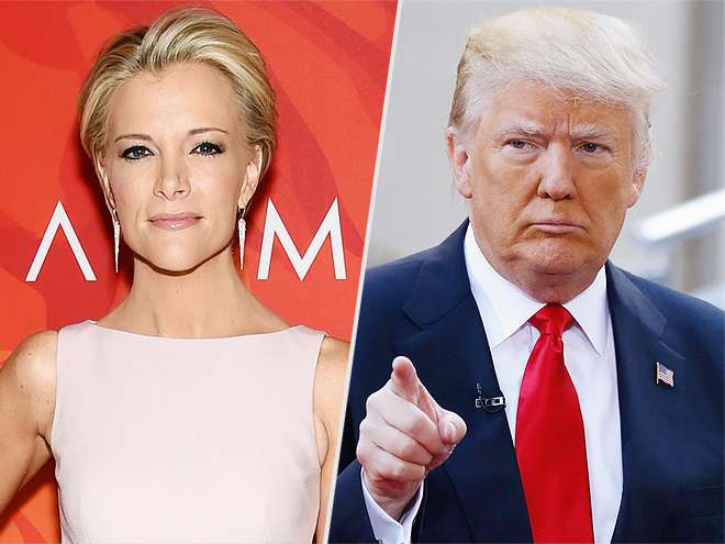 """In this April 8, 2016 file photo, Fox News anchor Megyn Kelly attends the 2016 Variety's Power of Women: New York in New York. Presidential Candidate Donald Trump attends NBC's """"Today"""" Trump Town Hall at Rockefeller Plaza on April 21, 2016."""