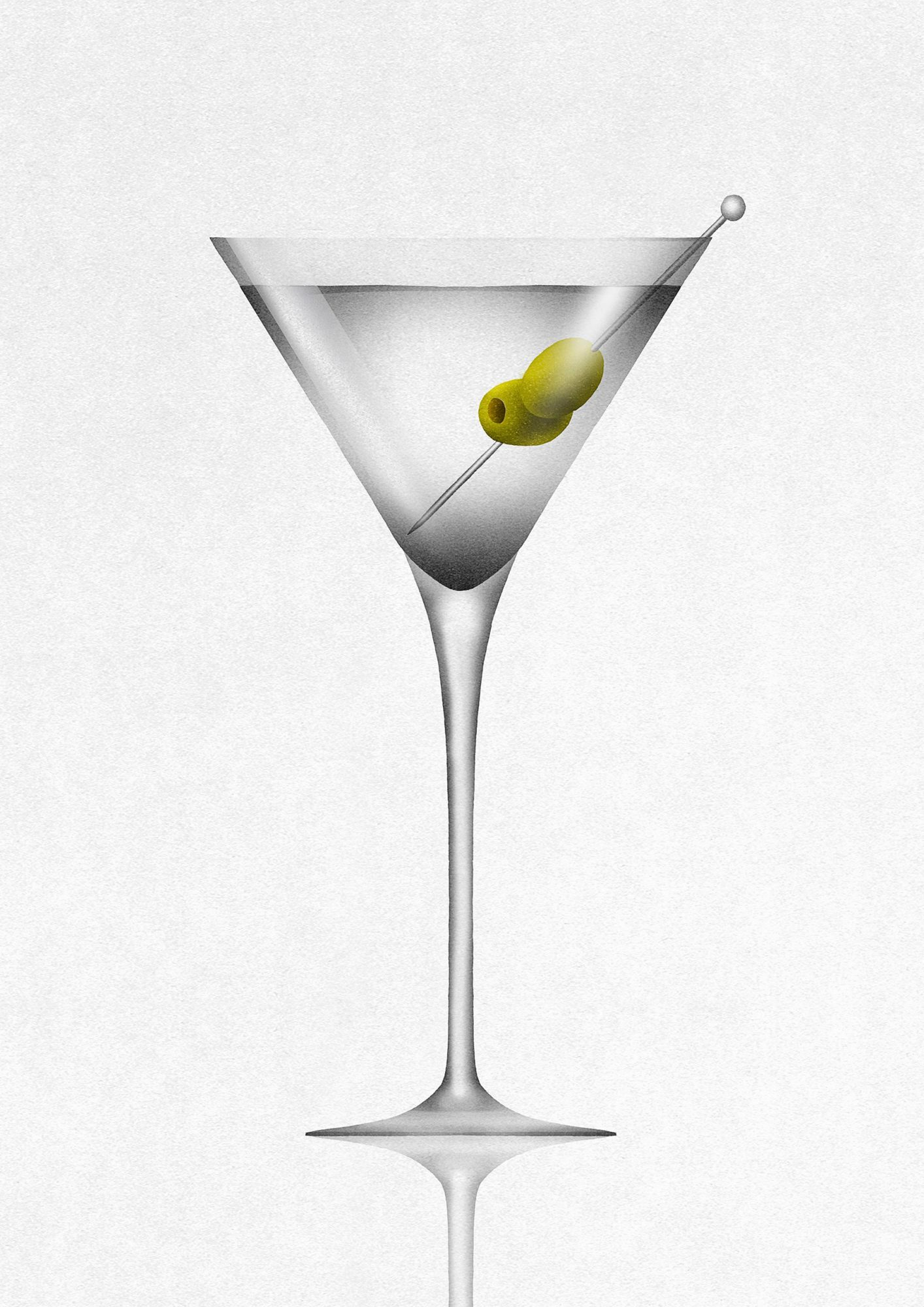 Olives in martini cocktail glass