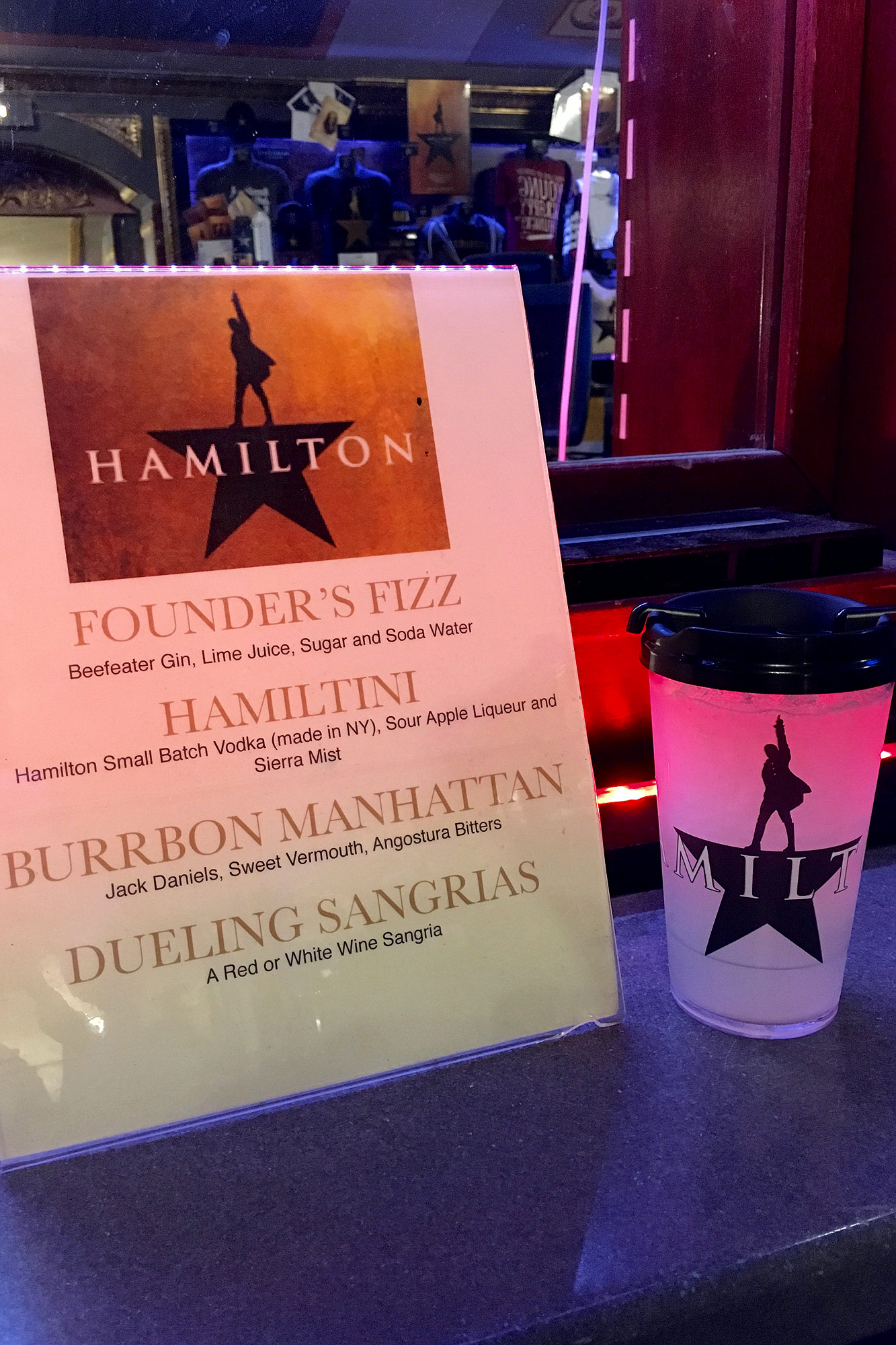 Hamilton drink available at the Richard Rodgers Theatre
