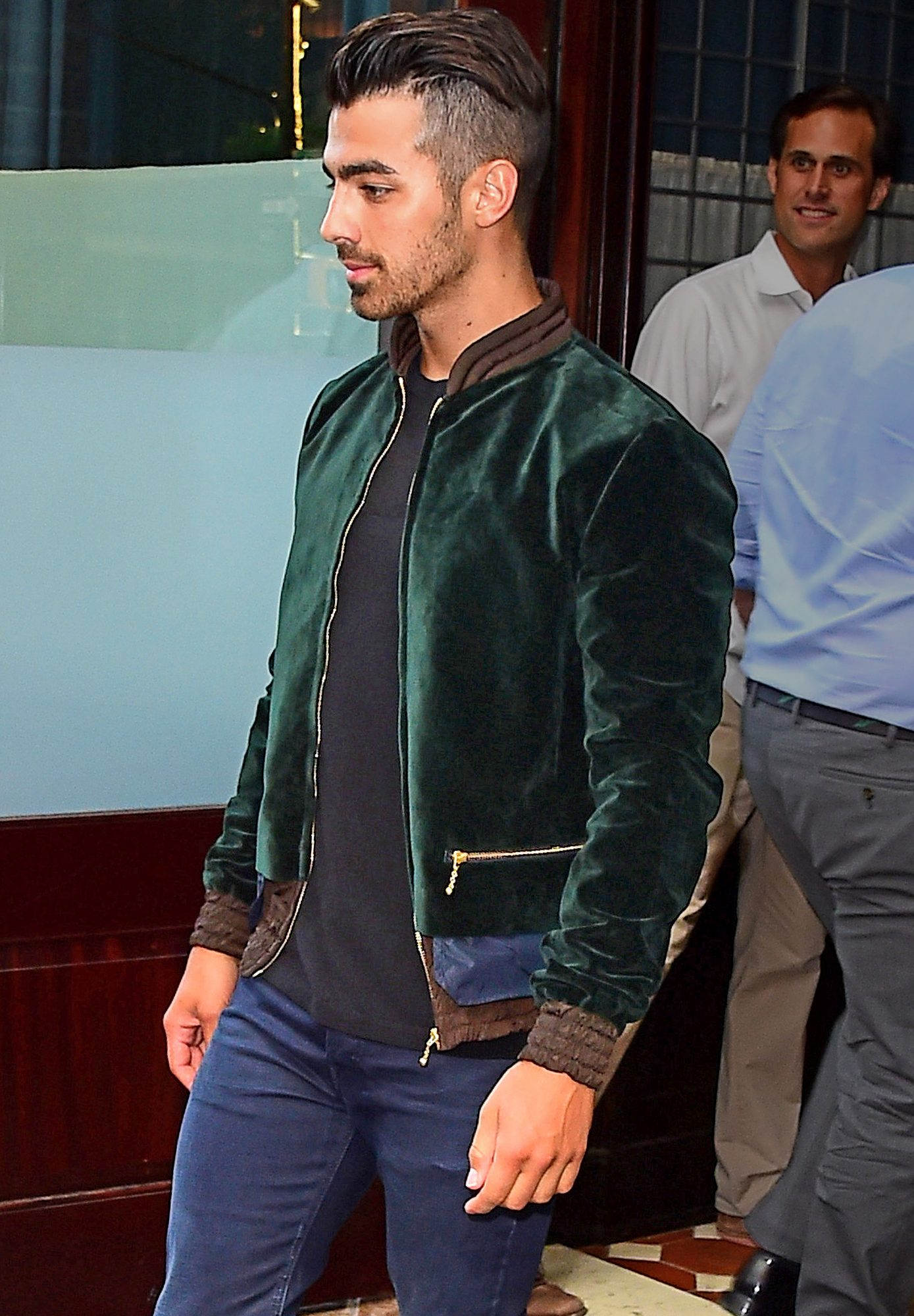 Joe Jonas rocks a green velvet jacket in NYC