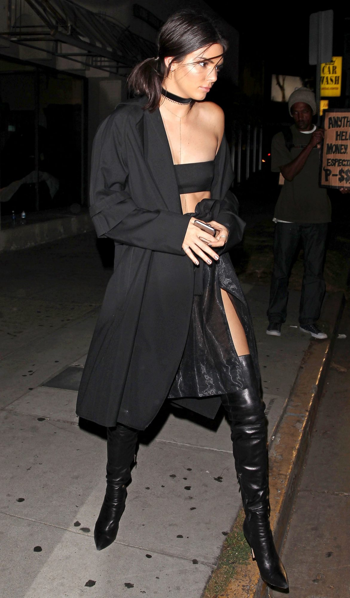 Kendall Jenner wears a sexy black ensemble to Kylie's pre-birthday bash