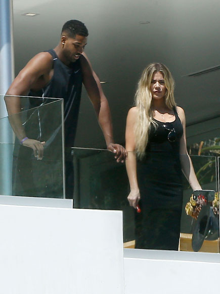 Khloe Kardashian and Cleveland Cavaliers player Tristan Thompson spend Thursday afternoon looking around a mansion in Beverly Hills. They were part of a group who appeared to be house hunting and spent 30 minutes checking out the mansion.