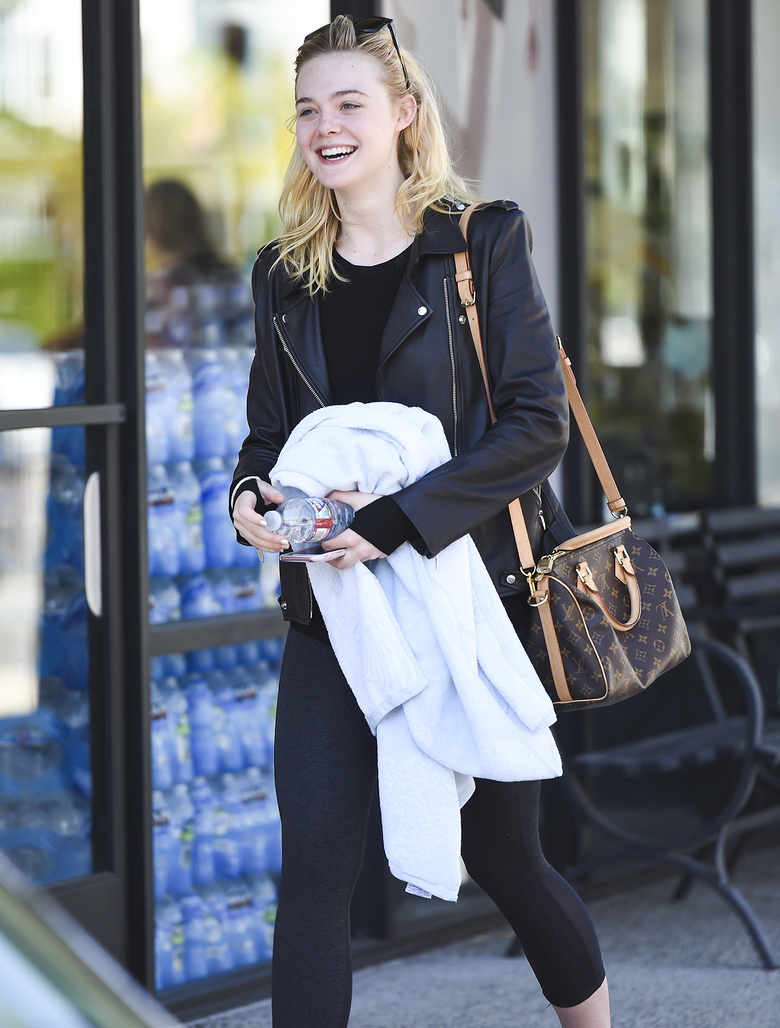 Elle Fanning finishes a workout