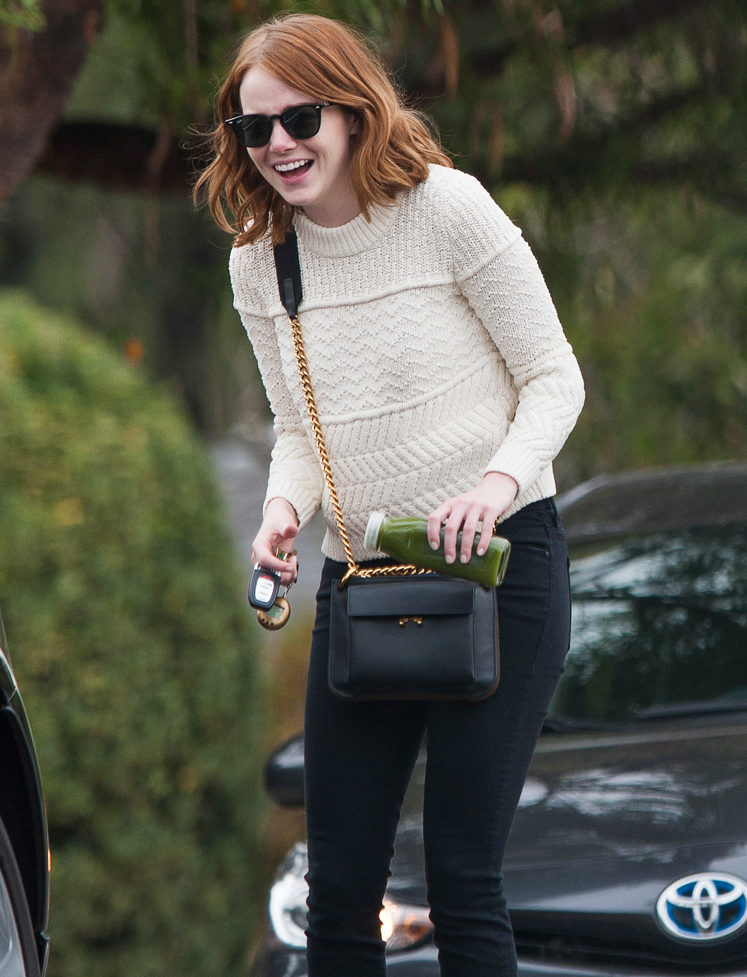EXCLUSIVE: Emma Stone Smiles Broadly and has a Laugh Out Loud Moment in LA