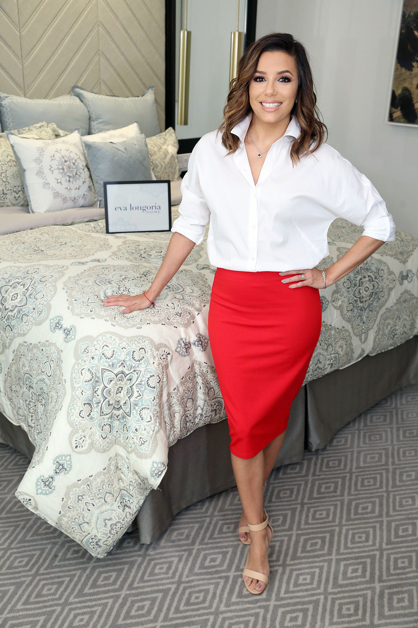 IMAGE DISTRIBUTED FOR JCPENNEY - Eva Longoria and JCPenney celebrate the launch of new bath and bedding designs ñ additions to her exclusive JCPenney collection ñ on Tues., Oct. 4, 2016, in Los Angeles. (Photo by Casey Rodgers/Invision for JCPenney/AP Images)