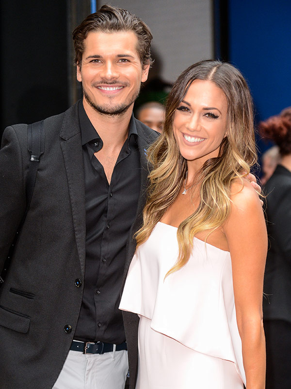 "Professional dancer Gleb Savchenko (L) and singer and actress Jana Kramer leave the ""Good Morning America"" taping at the ABC Times Square Studios on September 07, 2016 in New York City."