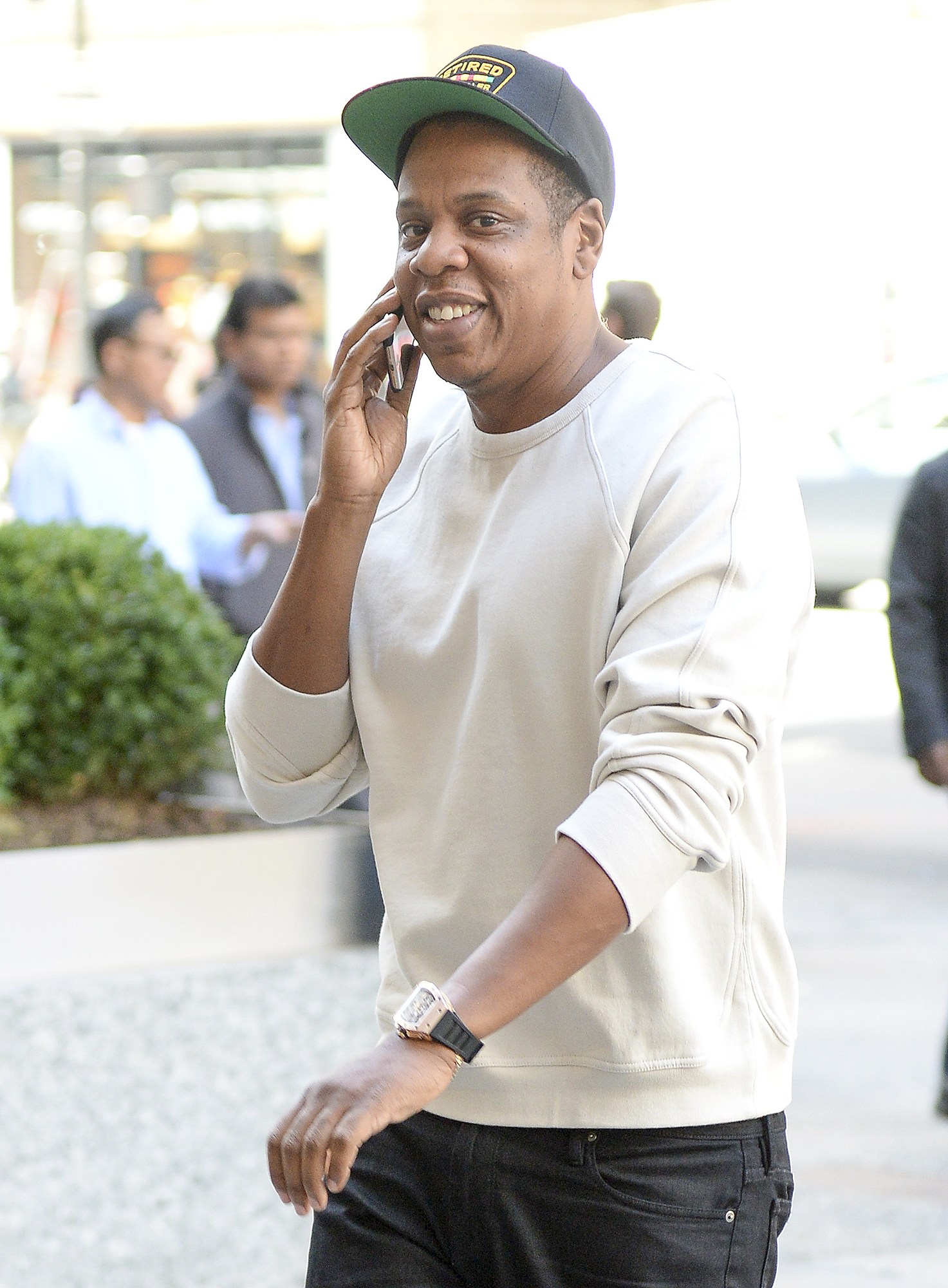 Jay Z Walks  to his office