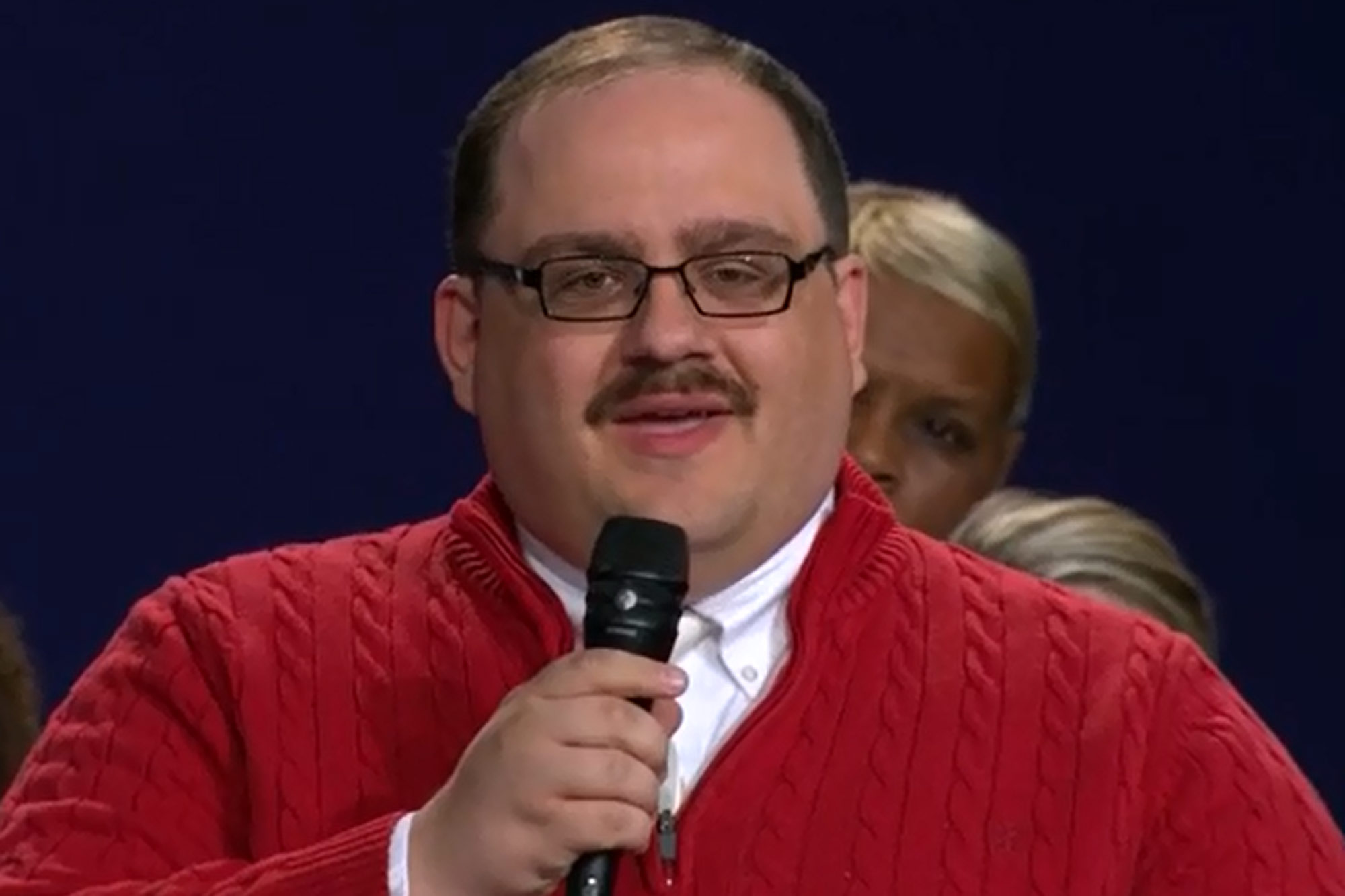 "http://edition.cnn.com/2016/10/10/politics/debate-ken-bone-staring-man-trnd/ Kenneth Bone asks Donald Trump and Hillary Clinton, ""What steps will your energy policy take to meet our energy needs while at the same time remaining environmentally friendly and minimizing job layoffs?"""