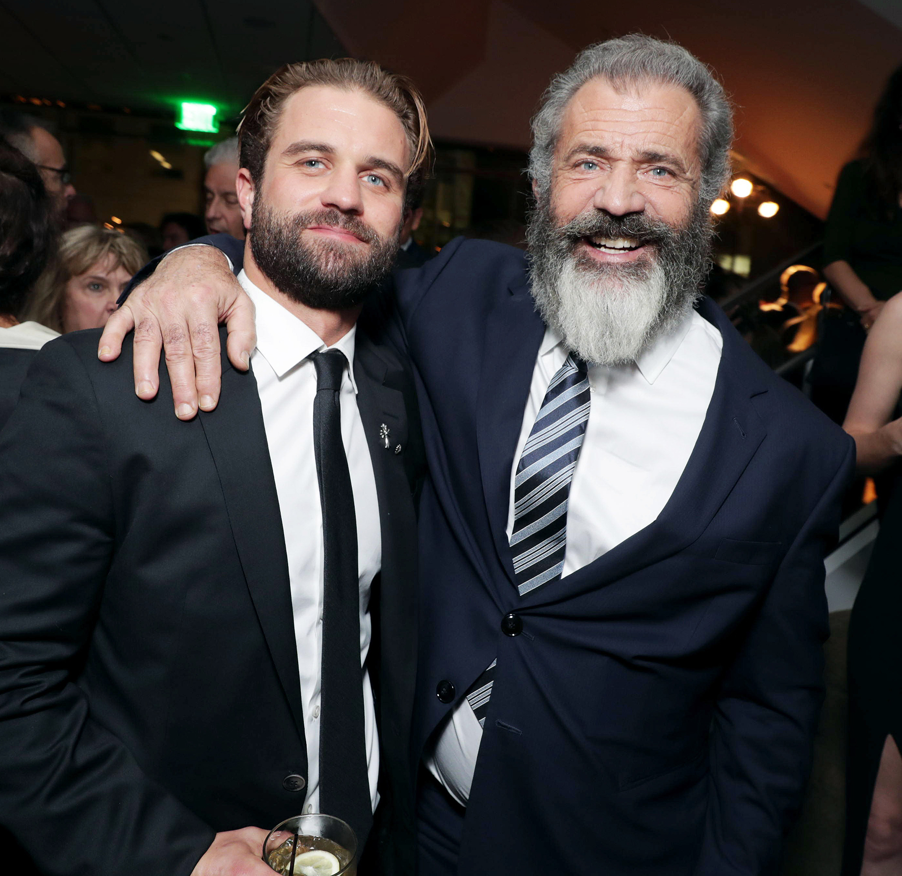 """Milo Gibson and Director Mel Gibson seen at Summit Entertainment, a Lionsgate Company, Los Angeles Special Screening of """"Hacksaw Ridge"""" after party at The Academyís Samuel Goldwyn Theater on Monday, Oct. 24, 2016, in Beverly Hills, Calif. (Photo by Eric Charbonneau/Invision for Lionsgate/AP Images)"""