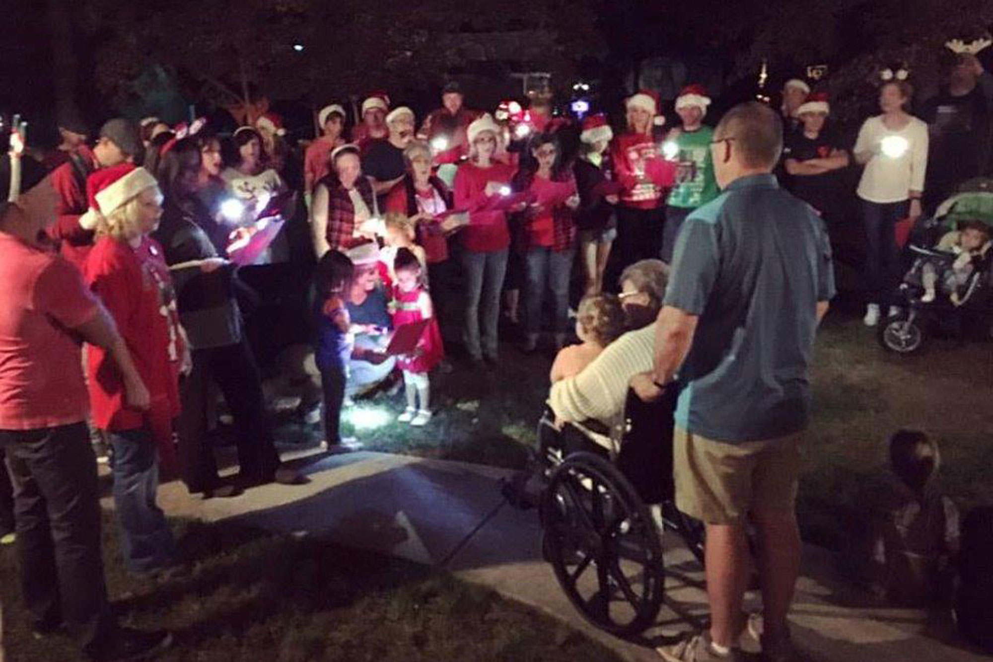 North CarolinaNeighborhood Celebrates Christmas Early to Honor Dying Woman's Last Wish pics are courtesy of Michelle Fadel