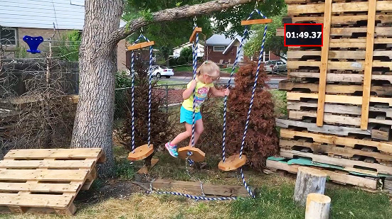 Dad builds American Ninja Warrior back yard screengrab.