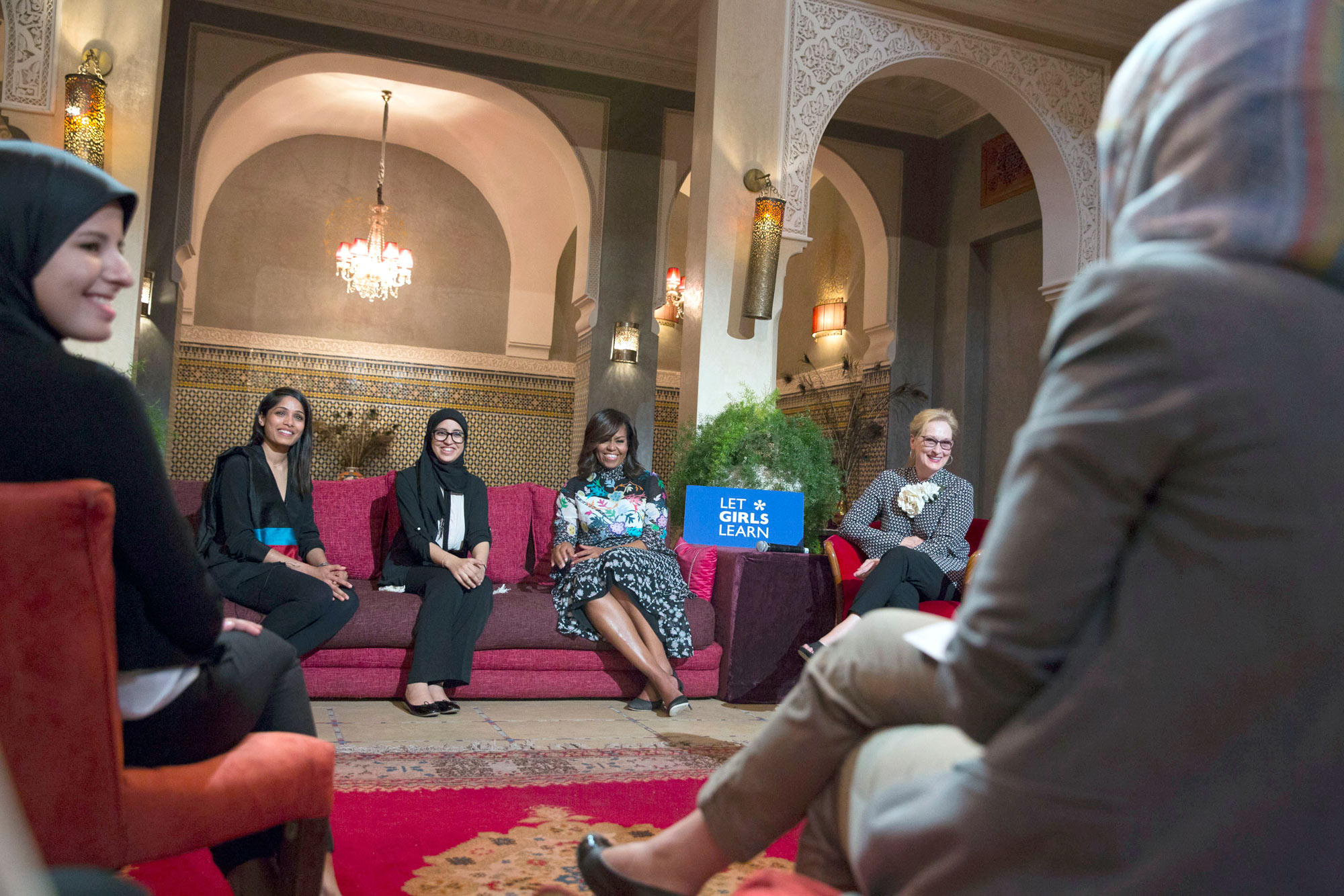 First Lady Michelle Obama, Meryl Streep and Freida Pinto participate in a conversation with girls, moderated by CNN's Isha Sesay, in support of the Let Girls Learn initiative, at Dar Diafa Restaurant in Marrakech, Morocco, June 28, 2016. (Official White House Photo by Amanda Lucidon)