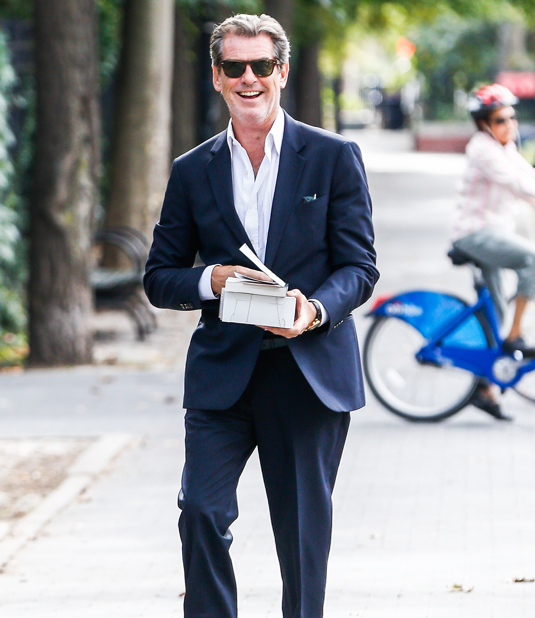 Piecr Brosnan leads the cast while filming 'The Only Living Boy in New York'