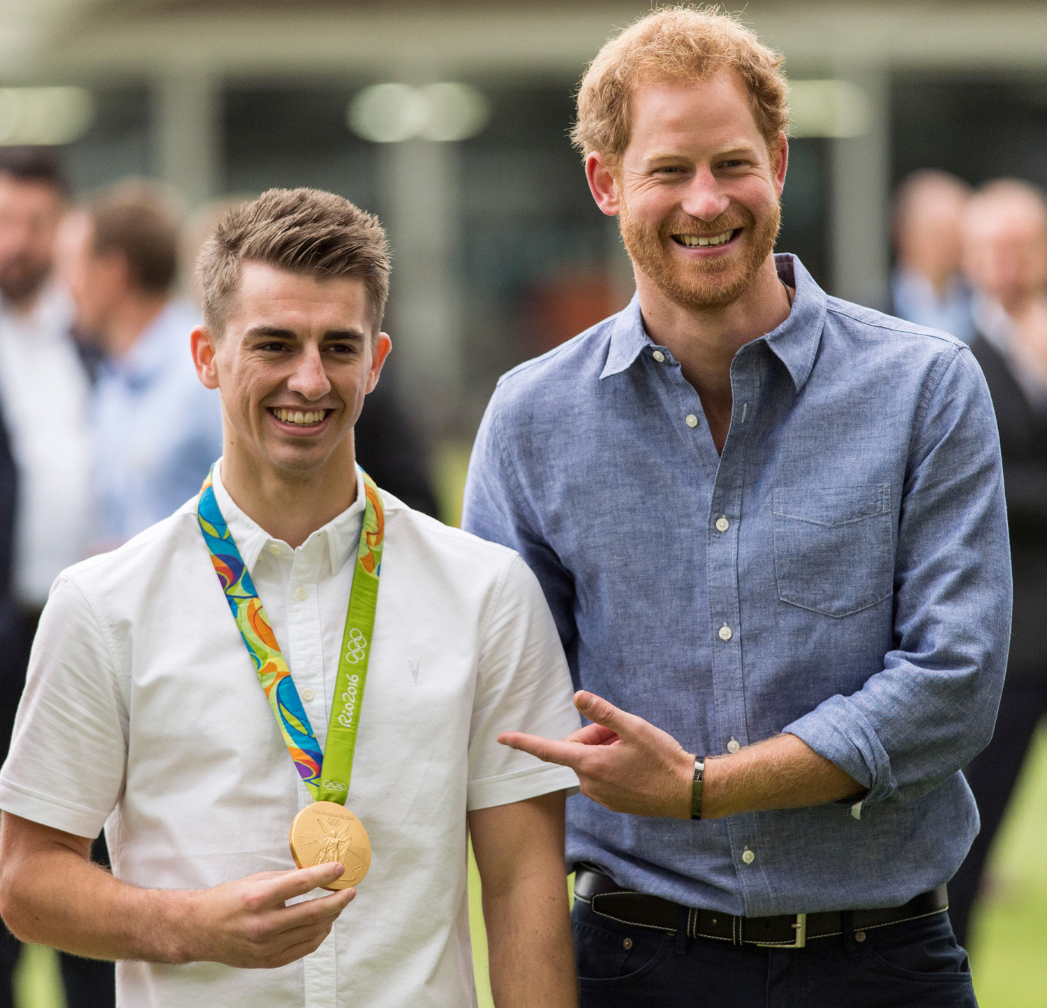 LONDON, ENGLAND - OCTOBER 07: Prince Harry meets Olympic Gymnast Max Whitlock during a visit to celebrate the expansion of Coach Core at Lord's Cricket Ground on October 7, 2016 in London, England. (Photo by Mark Cuthbert/UK Press via Getty Images)