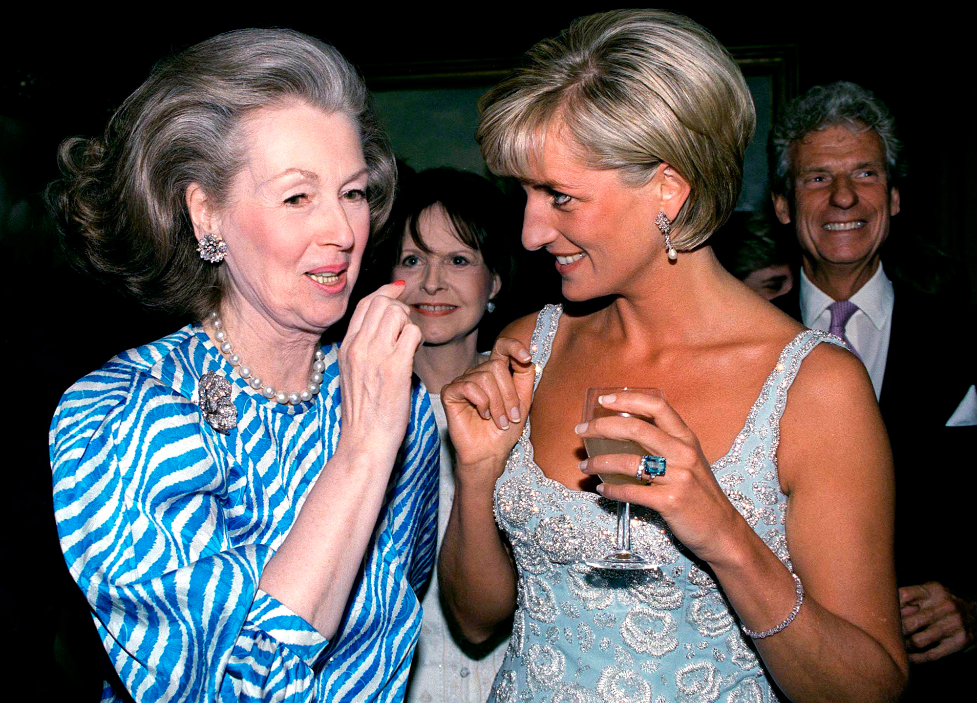 LONDON, UNITED KINGDOM - JUNE 02: Princess Diana Talking With Raine, Comtesse De Chambrun (previously Her Stepmother, Countess Raine Spencer) At A Private Viewing And Reception At Christies Of Dresses Worn By The Princess That Are For Auction To Raise Money For The Aids Crisis Trust And The Royal Marsden Hospital Cancer Fund. (Photo by Tim Graham/Getty Images)
