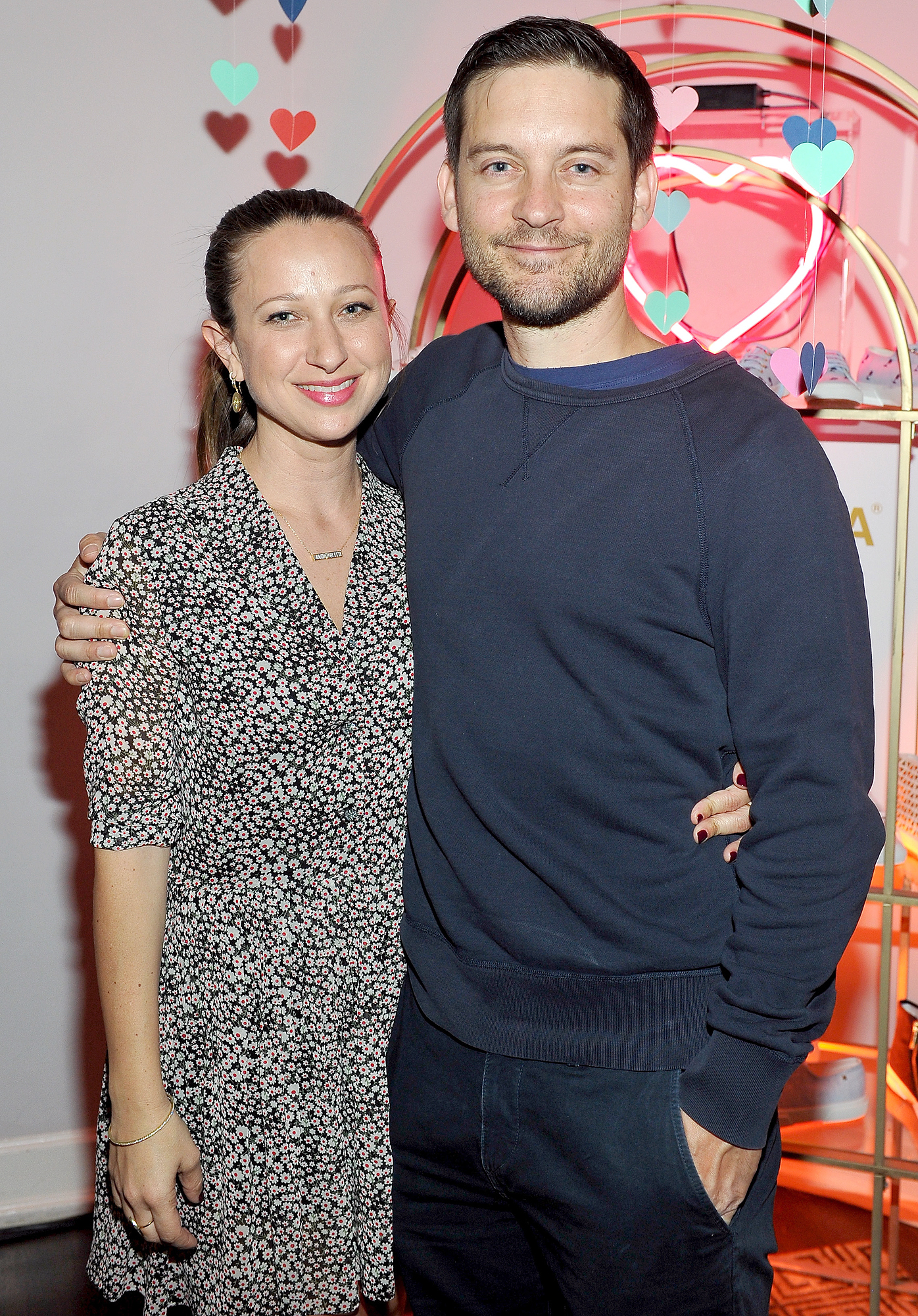 LOS ANGELES, CA - FEBRUARY 09: Designer Jennifer Meyer (L) and actor Tobey Maguire attend the Superga XO Jennifer Meyer Collection Launch Celebration at Chateau Marmont on February 9, 2016 in Los Angeles, California. (Photo by Donato Sardella/WireImage)