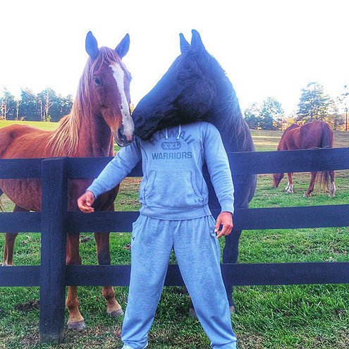 WHEN HE POSTED A TRUE CANDID PIC WITH HIS HORSES