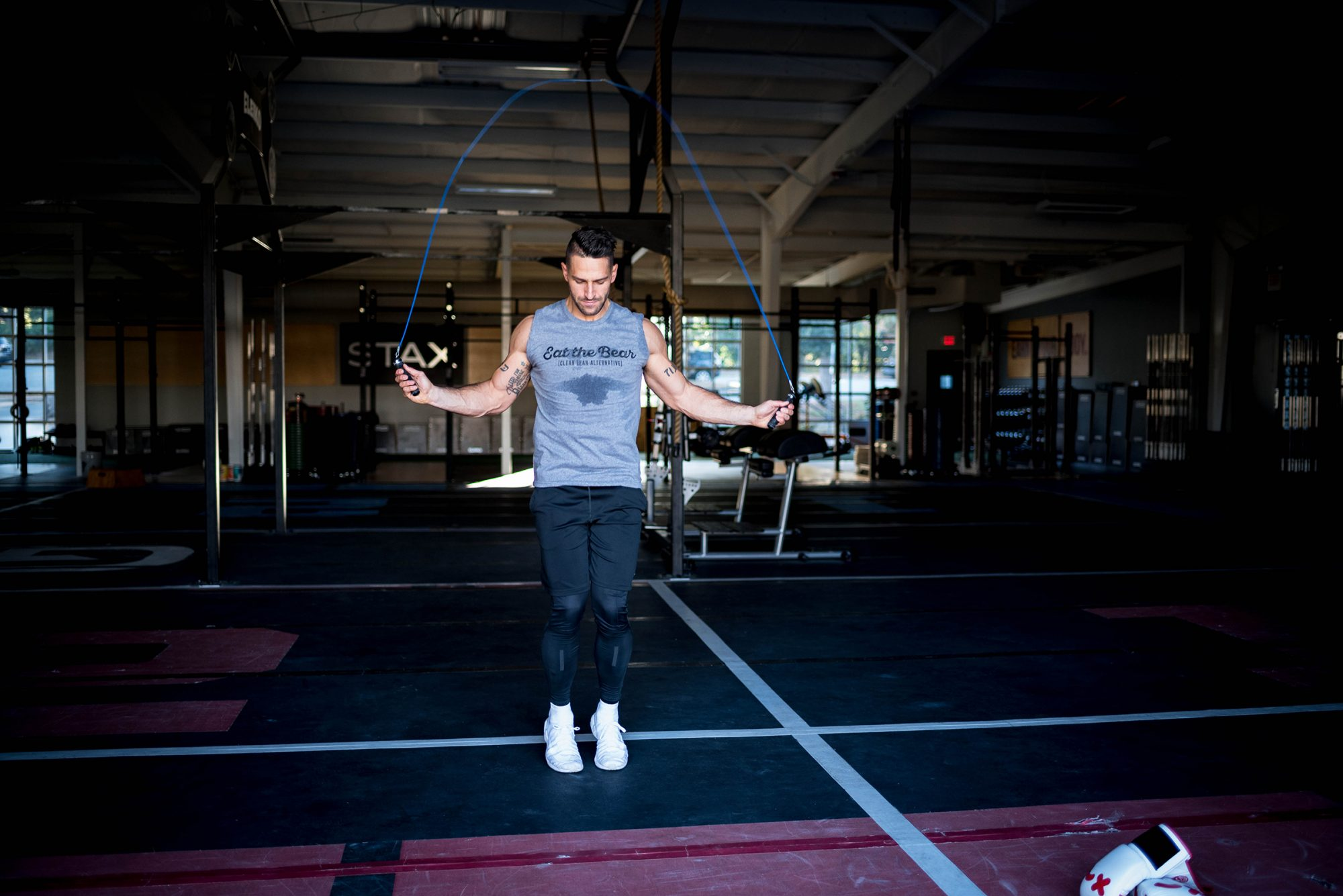 Noah Neiman, who created a Rocky-inspired boxing workout. Can I please get the attached photo of him tooled as a secondary image? Credit: Eat the Bear