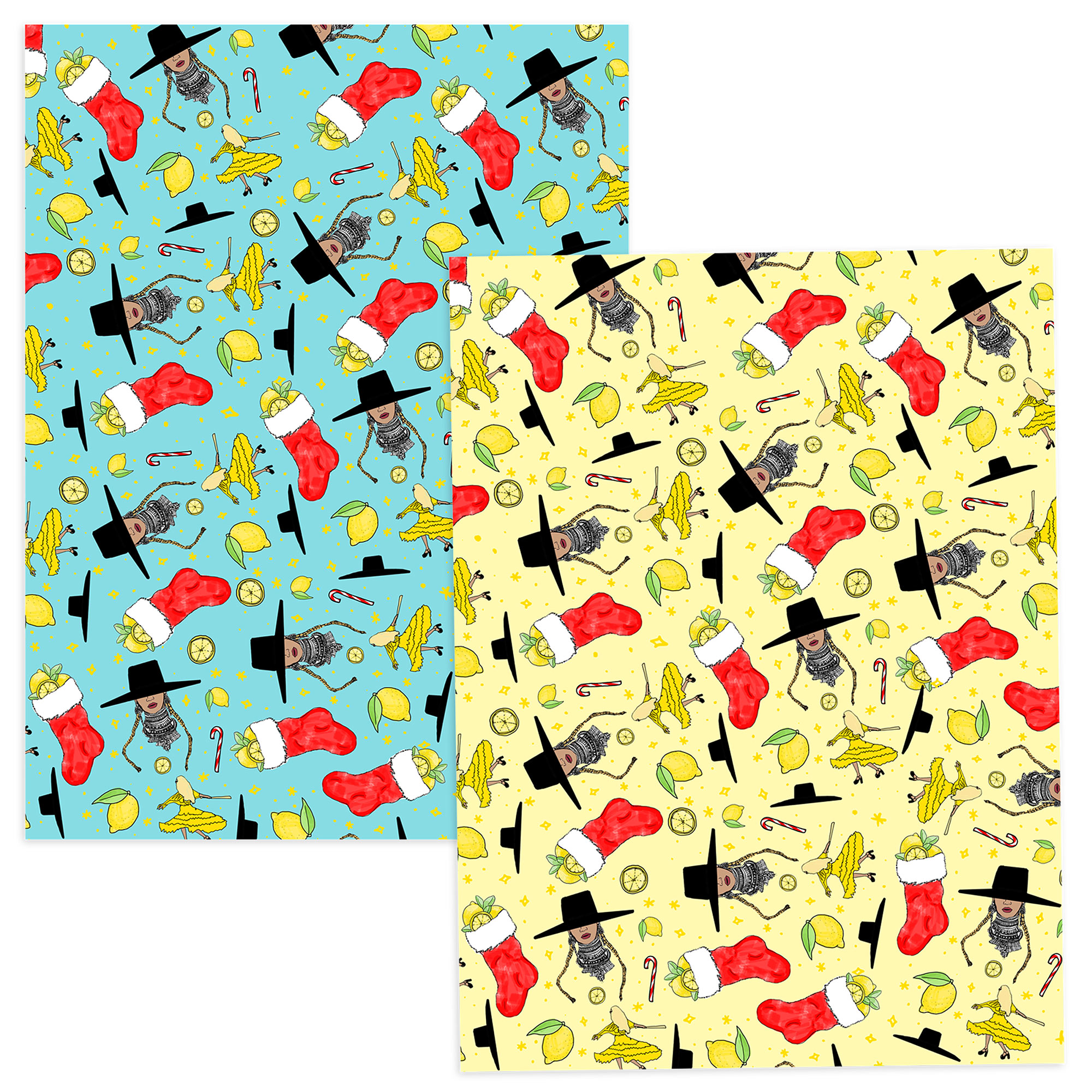 Beyonce christmas stuff - http://shop.beyonce.com/products/59289-blue-yellow-holiday-pattern-wrapping-paper