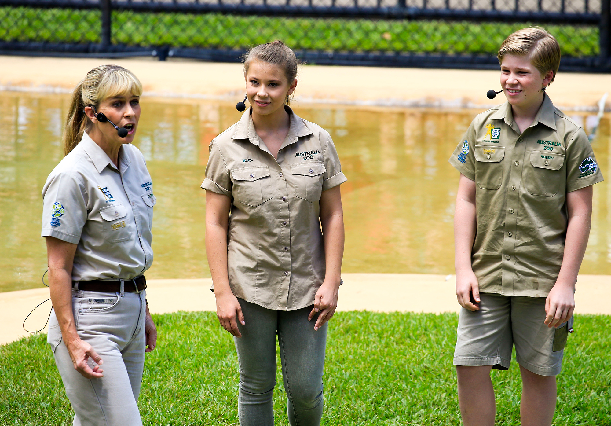 Bindi and Robert Irwin celebrate in their father's memory on Steve Irwin Day at their home, Australia Zoo on November 15, 2016 in Queensland, Australia. Terri Irwin led the family in a crocodile show, with both Bindi and Robert getting hands on with crocs. Bindi's boyfriend Chandler Powell was on the sidelines helping out too. Pictured: Bindi Irwin, Robert Irwin, Terri Irwin Ref: SPL1384483 151116 Picture by: Splash News Splash News and Pictures Los Angeles: 310-821-2666 New York: 212-619-2666 London: 870-934-2666 photodesk@splashnews.com