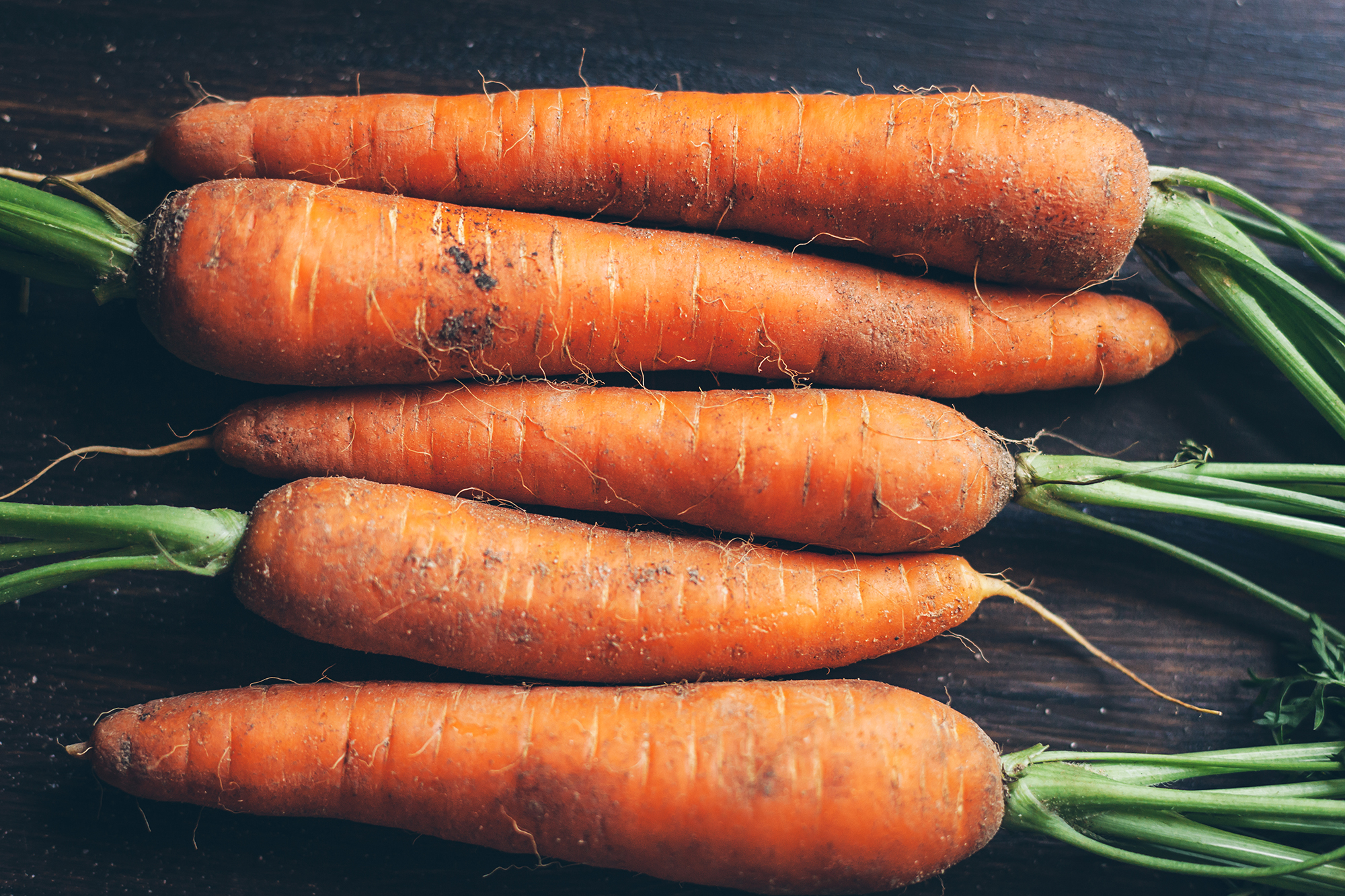 High Angle View Of Carrots On Table