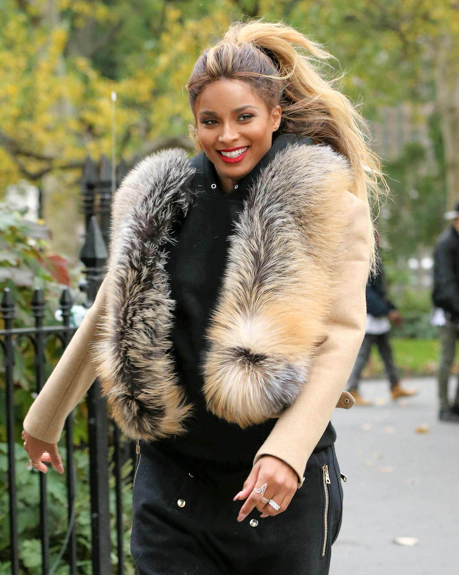 Pregnant singer Ciara leaves the set of a Christmas Special with a huge smile in New York City